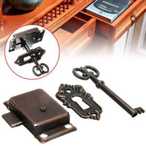 Antique Cabinet Door Lock Set Key Grandfather Clock China Jewlery Replacement US