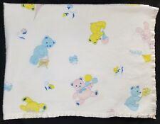 Vintage Teddy Bear Satin Trim Baby Blanket