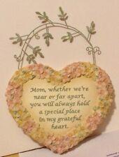 Mom,Whether We'Re Near Or Far Apart. Resin Heart Of Flowers W/Loving Sentiment