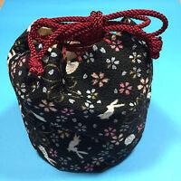 Chirimen Kimono Crepe Fabric Kinchaku Cylindrical Pouch Cute Kawaii Kyoto A