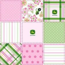 John Deere Tractor Madrid Block Pastel Patchwork Pink Cotton Fabric by the Yard