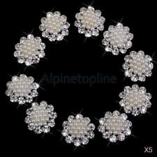 10pcs Crystal Diamante Pearl Brooch Button DIY Bridal Wedding Bouquet Decor
