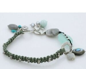 SILPADA Turquoise Labradorite Amazonite Pearl Bracelet B2314 Cord Toggle Macrame