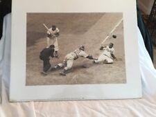 Jackie Robinson Stealing Home Baseball Art Poster Print 16X20 (40.5X51cm)