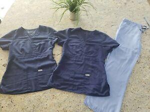 Grey's Anatomy Scrub Set Blue. 2 identical Tops XS. Pants 4232 XXS Petite.