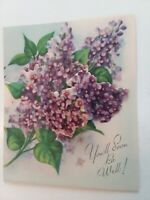 UNUSED Vtg Sweet VIOLETS Pretty Petals Dimensional Get Well GREETING CARD