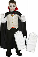 Boys Girls Kids Dracula Vampire Halloween Fancy Dress Costume Outfit WITH Gloves