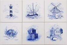 15x15 Küchenfliesen Delfter Art,  Leuchtturm Windmühle Strandkorb Haus am See