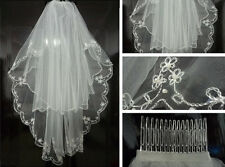 New 2T Elbow Wedding Bridal dress Veil edge Embroidery beads+Comb Free Shipping