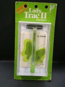 VINTAGE Gillette Lady TRAC II Safety Razor Set Case & - Original Green Package