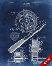 FLY FISHING ROD REEL US PATENT TECHNICAL DRAWING REAL CANVAS FISH ART PRINT