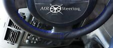 FITS PEUGEOT 307 BLACK GENUINE LEATHER STEERING WHEEL COVER R BLUE DOUBLE STITCH