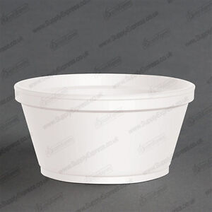 1000 SMALL 2oz 55ml WHITE POLYSTYRENE FOAM TUBS + LIDS FOOD CONDIMENT CONTAINERS