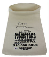 """Val Kilmer """"Doc"""" Signed 1880 Bank Of Tombstone Canvas Prop Money Bag BAS Witness"""
