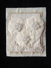 3 Heart toppers Mulberry handmade Pearl Hearts Cards Weddings Valentines