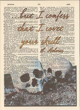 Sherlock Holmes Covet Skull Altered Art Print Upcycled Vintage Dictionary Page