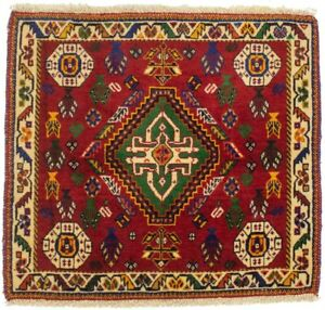 Hand-Knotted Tribal Design Square Vintage 2X2 Small Oriental Rug Wool Carpet