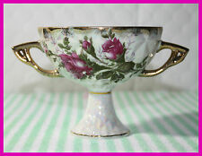 VINTAGE EXPRESSLY FOR LOFT CANDY DISH WITH ROSES & HAND APPLIED GOLD