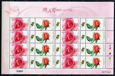 CHINA TAIWAN 2012 Rosen Roses Blumen Valentinstag 3661-2 Kleinbogen MNH