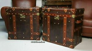 English Leather Pair Of Occasional Side Table Trunk & Chests Antique Leather ZA3