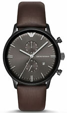 Emporio Armani AR1932 Retro Gunmetal Dial Leather Strap Chronograph Men's Watch