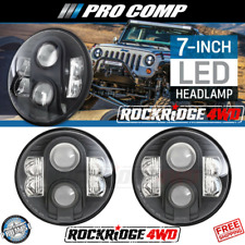 "PRO COMP LIGHTING 7"" ROUND LED REPLACEMENT HEADLIGHTS PAIR BLACK 76402P"