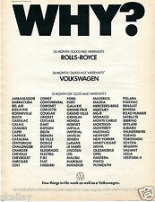 1972 Print Ad of VW Volkswagen Warranty WHY? few things in life work as well