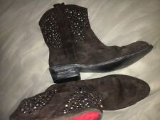 Beverly Feldman 1947 ALL LEATHER COW BOY Rhinestone brown suede Boots size 10B