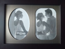 "New double frame for two 3.5x5"" / 9x13cm photos, matt frame brushed metal insert"