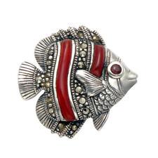 Sterling Silver, Marcasite & Carnelian Stone Fish Pin - MPN193