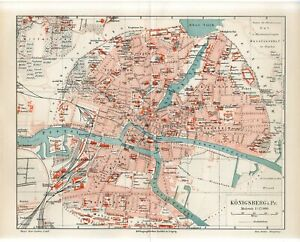 1895 GERMANY KONIGSBERG CITY PLAN now RUSSIA KALININGRAD Antique Map