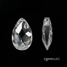 2 Cubic Zirconia Flat Pear Briolette Pendant Beads 10x16mm Clear / White #96199