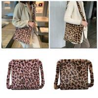 NEW Winter Style Leopard Print Furry Handbag Crossbody Bag Student Shoulder O5B7