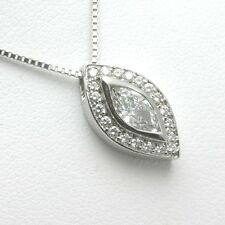 Handmade 14k Marquise Diamond Pendant 3/4 carat pave slide white gold NEW