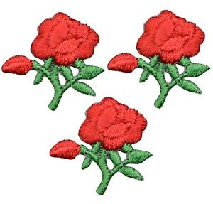 """Mini Red Roses Applique Patch - Bloom, Flower, Love Badge 1"""" (3-Pack, Iron on)"""
