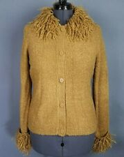 Kathie Lee Cardigan Sweater Womens S Golden Tan Long Sleeve Button Front Boucle