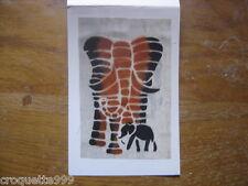 carte postale Postcard fantaisie en tissu batik AFRIQUE AFRICA elephant 2