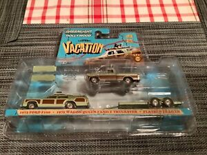 Greenlight 1:64 Ford F 100 +1979 Wagon Family  + Flatbed Trailer 31040-A