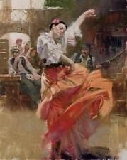 """Pino """"Flamenco in Red"""" Spanish Dancer Sold Out Ed. Giclee on Canvas HS/# 46x36"""