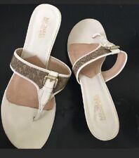 MICHAEL KORS kitten heel THONG sandals MK Logo Jacquard Size 8.5 RARE!