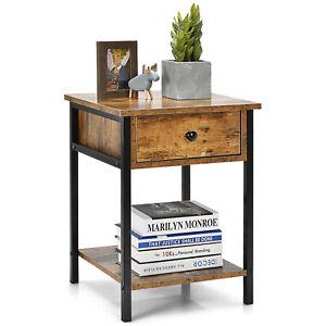 Retro Nightstand Bedside Table Storage Livingroom End Table Cabinet Drawer Shelf