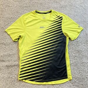 Nike Running Shirt Mens Small Adult Swoosh Yellow Active Athletic Dri-Fit Black