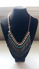 """New! JACQUELINE KENT 13"""" Statement Necklace & Earrings Set Native Turquoise"""