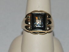 """10K Gold Onyx ring with letter """"H"""""""