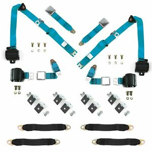 4 BELTS Retro Blue Airplane Seat Belt Bucket Kit muscle cars hot rods rat rods