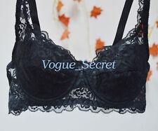 Women Sheer Lace Bra Deep V Underwire Brassiere Bras 32 34 36 40 42 A B C D E