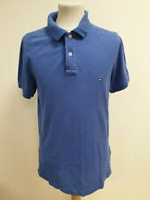 FF742 MENS TOMMY HILFIGER BLUE COLLARED SLIM FIT POLO T-SHIRT UK L