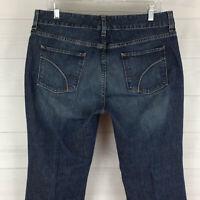 Eddie Bauer womens size 12 short stretch blue dark wash mid rise bootcut jeans