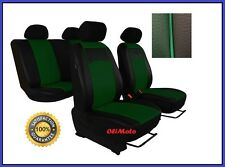 Universal Green/Black Eco-Leather Full Set Car Seat Covers Nissan Micra / Almera