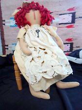 Primitive Folk Art Doll - RAGGEDY ANN in IVORY - SKELETON KEY - Nancy Nye CR